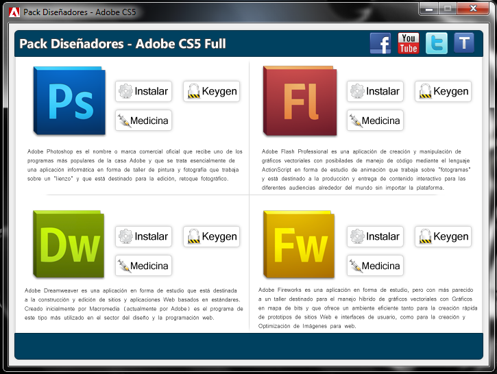 Pack Diseñadores - Adobe CS5 Full